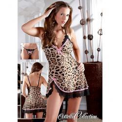Noční košilka leopard+tanga (S, M, L, XL)