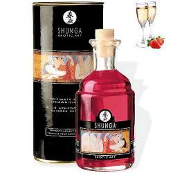 Afrodisiakální olej Shunga Champagne Strawberry 100ml