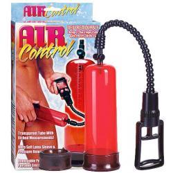 Červená pumpa na penis s latexovým návlekem Air control