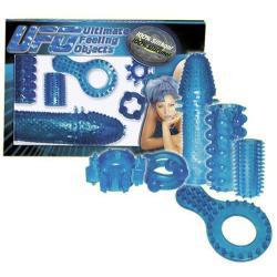 Sada kroužků a návleků na penis v modré barvě - UFO