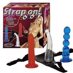Sada barevných masturbátorů s připínacími kalhotkami - Strap on!