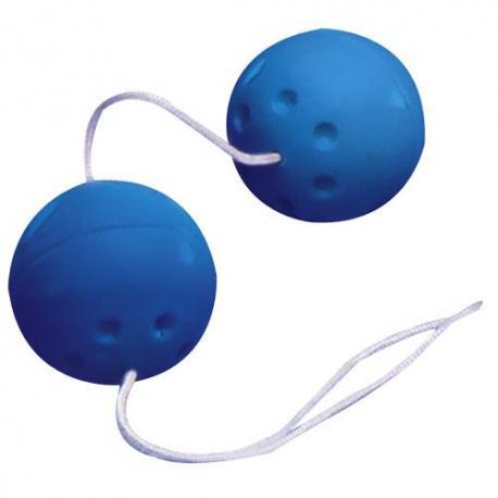 Modré gumové kuličky na šňůrce